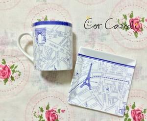【セット割】Paris Map パリマップ ブルー A4 コル・カロリオリジナル転写紙