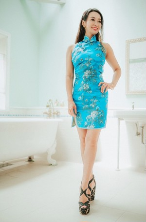 blue china dress