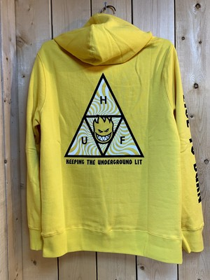 HUF x SPITFIRE  Triangle Pullover HoodieYELLOW M