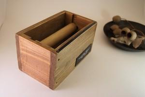 レザーラベル付木製マスキングテープホルダー
