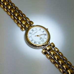 pierre cardin ピエールカルダン SS金色白色コンビ腕時計 紳士用 クォーツ時計
