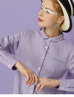 toyouth襟ハートボタン長袖シャツ。リネンコットン素材パープル/ブルー