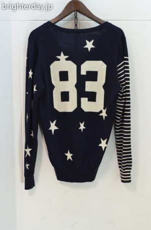 uniform experiment NUMBERING STAR PANEL BORDER KNIT CARDIGAN