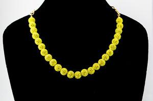 ラインストーンパヴェボールネックレス pve-neckcitron25 シトロン(黄色) パヴェ キラキラ