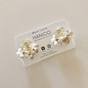 dot lace cabochon×mini 3 flowers 【ベージュ】