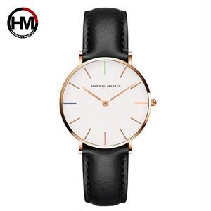 女性の時計クリエイティブトップブランド日本クォーツムーブメント時計ファッションシンプルな因果レザーストラップ女性の防水腕時計3690-B36-FH