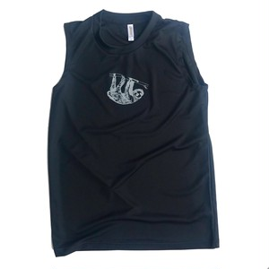 ミニマルナマケモノ ノースリーブTシャツ BLACK GRAY