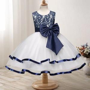 【送料無料/即納】ネイビー&ホワイト ゴージャス 子供ドレス