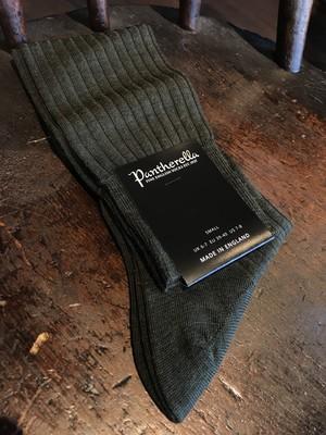 Pantherella Merino wool long hose DARK OLIVE MIX