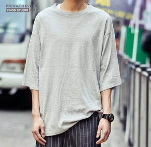 [再販]オーバーサイズ7部丈デザインTシャツ 3カラー