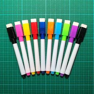 磁石でくっつくホワイトボード用マーカー9色+黒の10本X2。キャップにイレーザ付き。 消せる カラフル マーカーペン 白板 カラーボード イレーザ かわいい