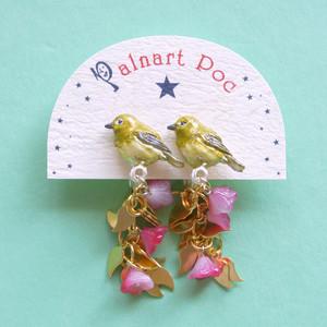 《鳥/めじろ》 イヤリング メジロの気持ち Palnart Poc パルナートポック 目白 花 EA068