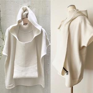 【sarah pacini】レイヤード スリーブレスニット (White)
