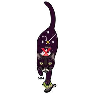 C-18-2 白黒(紳士ヒゲ)-猫の振り子時計