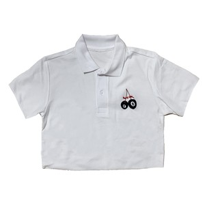 Cherry Eight Ball Embroidery Cropped Polo Tee