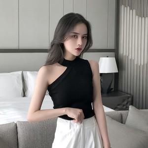 【トップス】無地春夏ファッションスリムセクシー不規則キャミソール