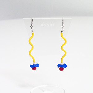 くねくねポップ Pierces / Earrings -memphis yellow-