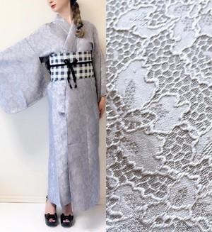 2分で着れるかんたん浴衣と作り帯のセット(ブルーグレー)