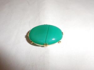 グリーンメノウ帯留 green agate obi sash clip(No9)