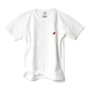CREW NECK T-SHIRT / RED FIN / WHITE