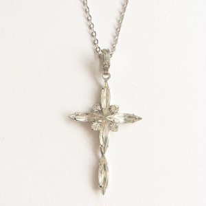 rhinestone cross necklace[n-194]