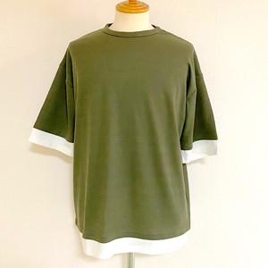 Ripple JQ  Fake  Layered T-shirts(Half Sleeve) Khaki