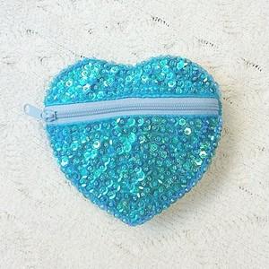 Jewelry スパンコールハートポーチ ブルー