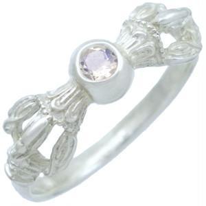 (6月)ブルームーンストーン ホワイト バジュラ シルバー リング 誕生石*BR-1048