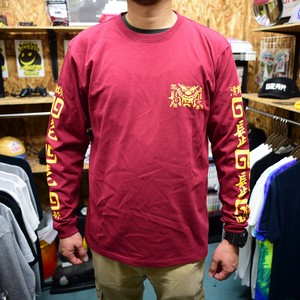 #HHC[髭髭倶楽部] / HIGE HIGE DRAGON Long-tee [BURGUNDY]