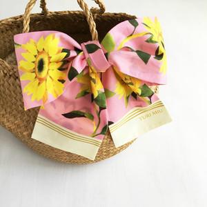 リボンスカーフ「 Sunflowers(ヒマワリ柄・ピンク)」(コットン)
