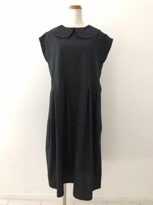 長め丈とフレンチ袖が作るエレガントスタイル。大人の丸襟リトルブラックドレス 。一点もの コットン100% 丸襟ワンピース ブラウスワンピース 快適 シンプル オールシーズン 万能 通勤 通学 パーティ ビジネス