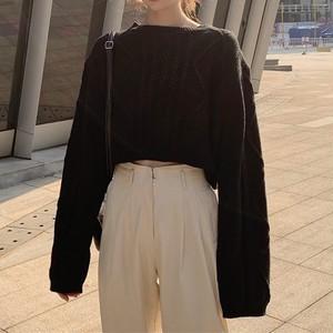 【トップス】韓国系シンプル無地洋服 通販カジュアルラウンドネックニットセーター23356004