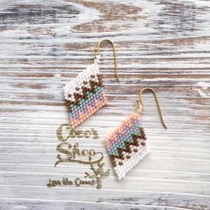 Rhombus Earring  Native pattern -Pink-
