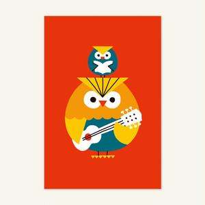 ポストカード(フクロウの親子)