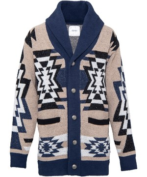 NATIVE PATTERN MALL KNIT LONG CARDIGAN[REK061]