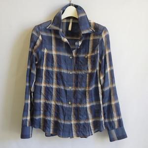 オリジナル 先染めチェックワッシャーシャツ ネイビー