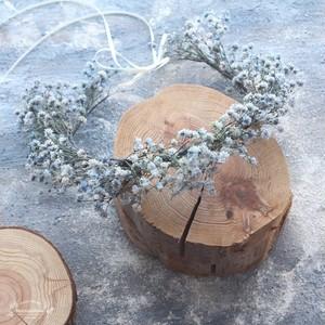 ラスティックかすみ草の花冠*デニムブルー