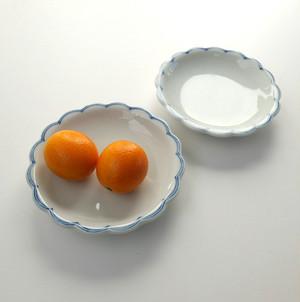 [KR408] 九谷の白 花形小皿ブルーライン/ Kutani White Hexagonal Plate S/ Showa Era
