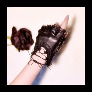 【お取り寄せ】レースアップ フリル レザー手袋