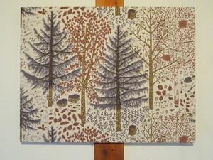 ファブリックパネル-blå skogen-
