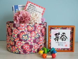 7つのていねい。名言おむつケーキdayoraシリーズ【紫花柄和紙×ピンク系コサージュ】【出産祝いおむつケーキ/和風】