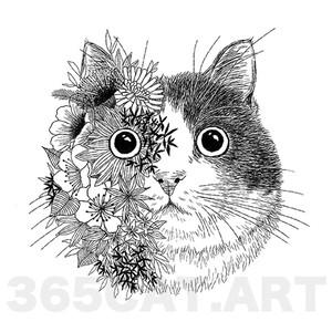 """タトゥーシール/猫の絵、イラスト猫雑貨・""""花と猫"""" Cat Tattoo"""