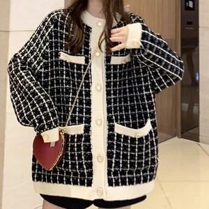 【トップス】新作長袖韓国風配色チェック柄セーター