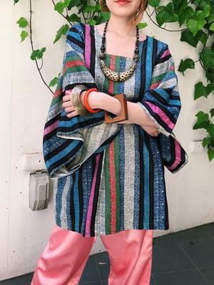 Vintage african  cotton tunic ( ヴィンテージ アフリカン ストライプ コットン チュニック )