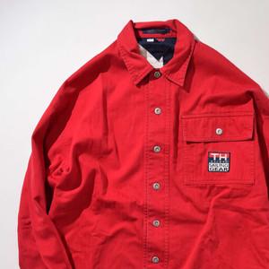 【Mサイズ】 TOMMY HILFIGER トミー・ヒルフィガー WAPPEN SHIRTS JKT シャツジャケット RED 400602190860