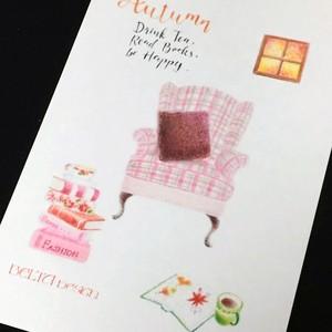 【ポストカード】お茶と読書(ピンク)