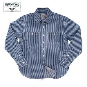 OKONKWO ストライプ長袖ワークシャツ 全2色 RankS