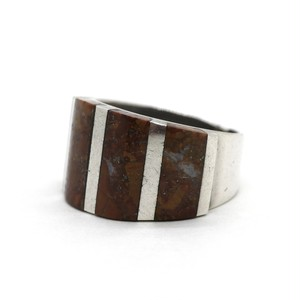 Vintage Sterling Silver Mexican Red Jasper Scales Band Ring