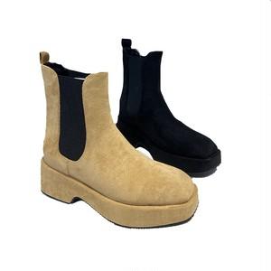 受注生産商品 サイドゴアスウェードミドルブーツ(Beige,Black) 180