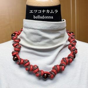 赤とブラウン綿ロープマクラメ編みネックチョーカー
